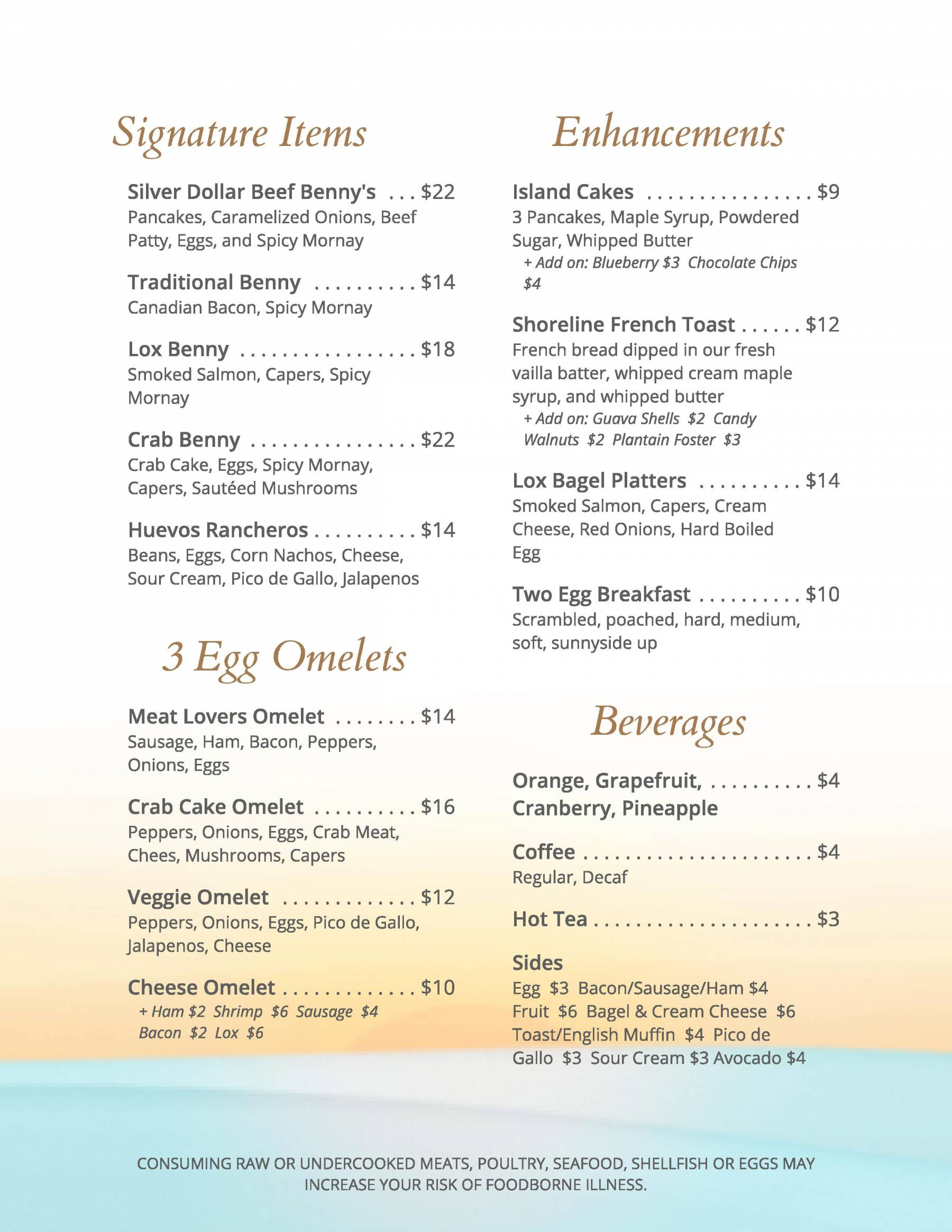 Shoreline Breakfast Menu