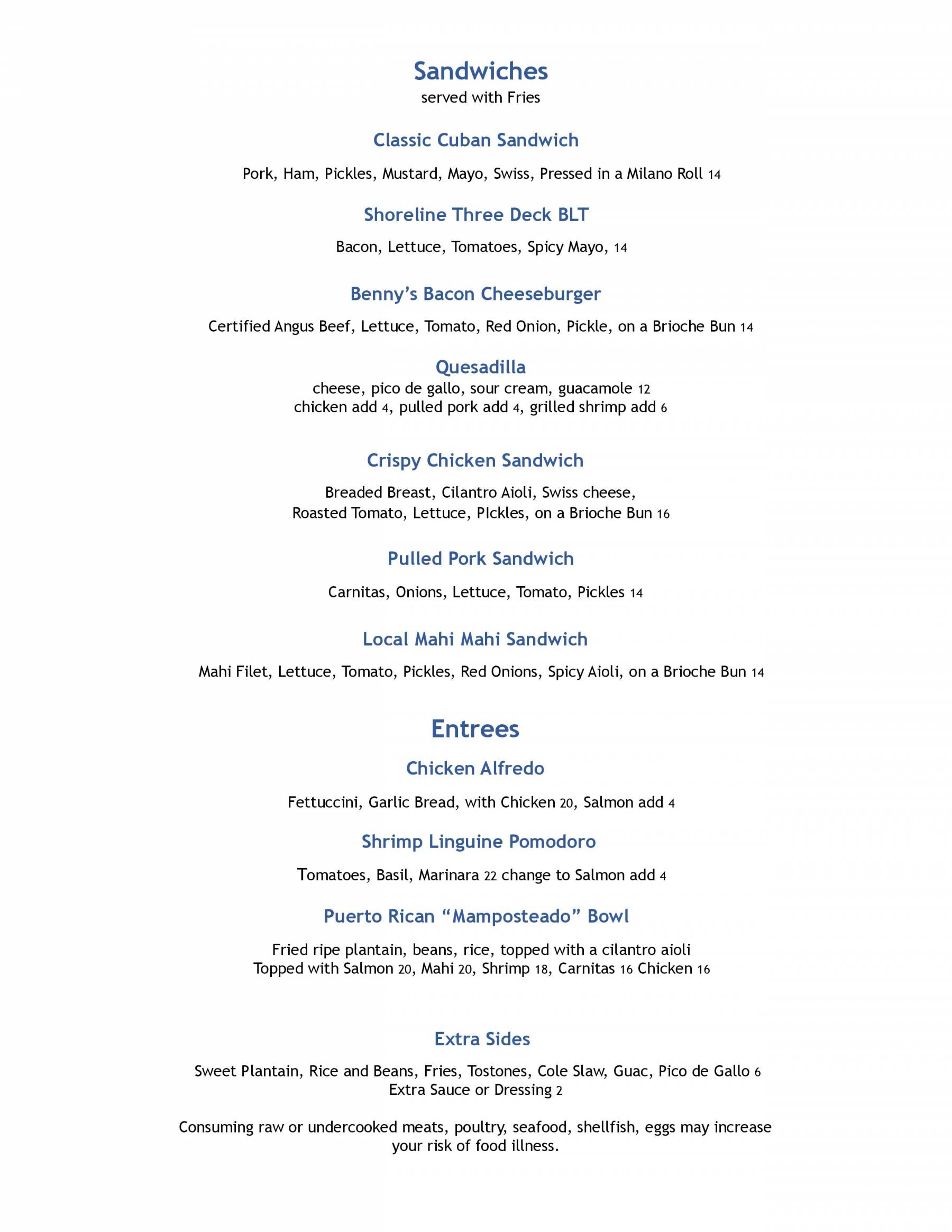 Shoreline Lunch & Dinner Menu